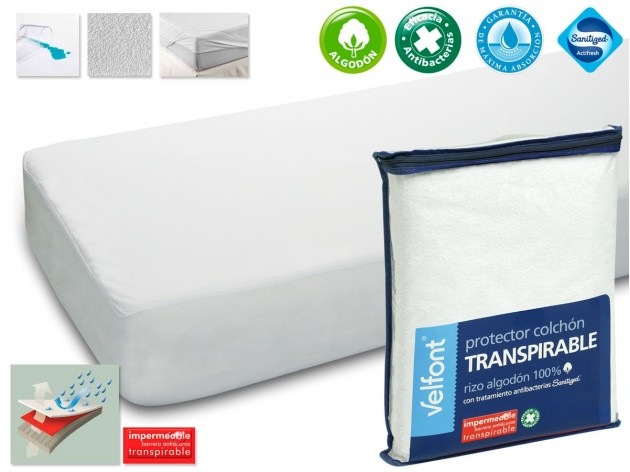 Protector de Colchon Rizo Transpirable antibacterias de Velfont